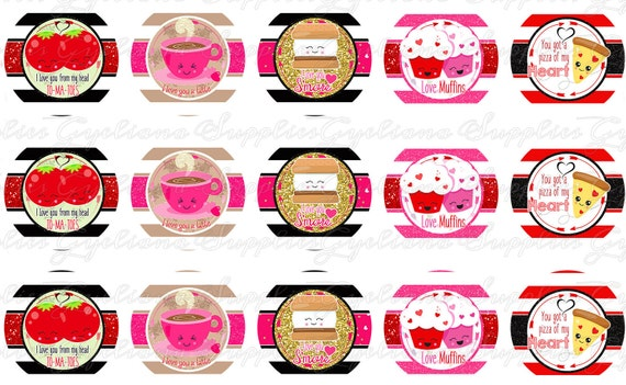 Valentine Kawaii Fruit Food Bottle Cap Image W Free Transfer Etsy