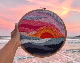 Oriental Sun Punch Needle Embroidery PDF Pattern