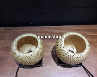 Set of 2 pcs bamboo lamp (10cm) for home decor - wedding decoration