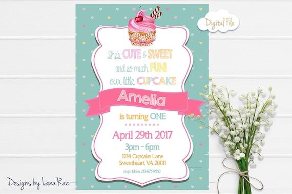 cupcake birthday party invitation cupcake party cupcake etsy