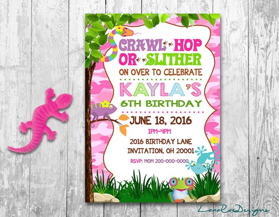 Reptile birthday invitation creepy crawly invitation girl etsy image 0 filmwisefo
