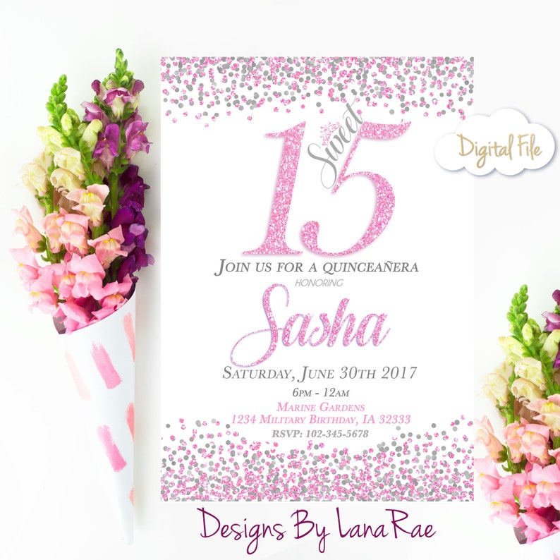 Quinceanera Invitation Sweet 15 Birthday Party