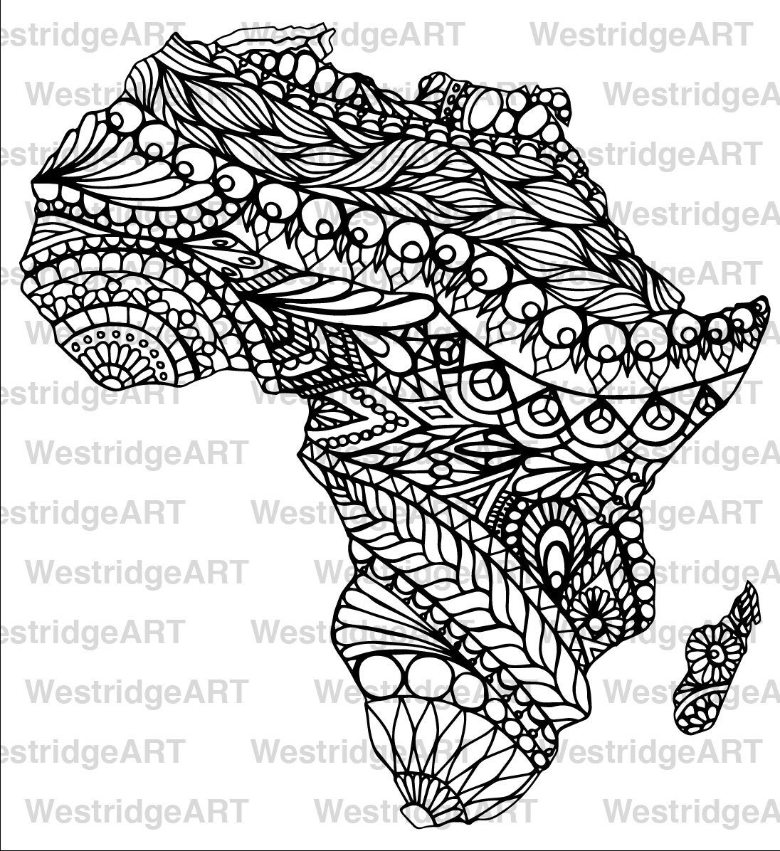 Mandala Doodle Adult Colouring Page Map Of Africa Printable