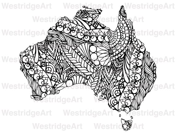 Map Of Australia Colouring In.Mandala Doodle Adult Colouring Page Map Of Australia Printable Colouring Pages Zen Doodle Art Instant Download Print At Home