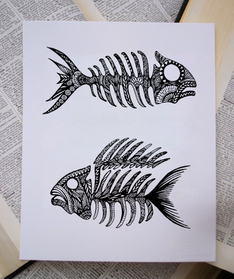 Original Artwork Fish Bone Diptych Abstract Ink Painting  d310230aeb9