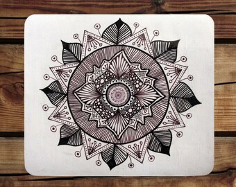 Hand drawn Mandala | Mousepad in Black and White | Mandala Mousepad | Aztec Mandala | Black patterns | Zentangle mandala | Mandala Design