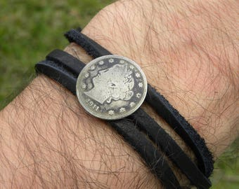 Bracelets Buffalo Indian Nickel Coins Wrap Strap Bracelet Wristband Real Bison Leather Jewelry & Watches