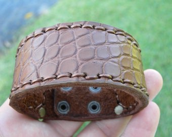 Genuine Alligator and Bison leather skin multi brown gold vintage tone  color  bracelet wristband customize to wrist size 32 mm  wide
