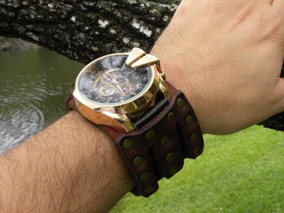 Alligator Buffalo Bison leather cuff men plain black bracelet wristband rustic