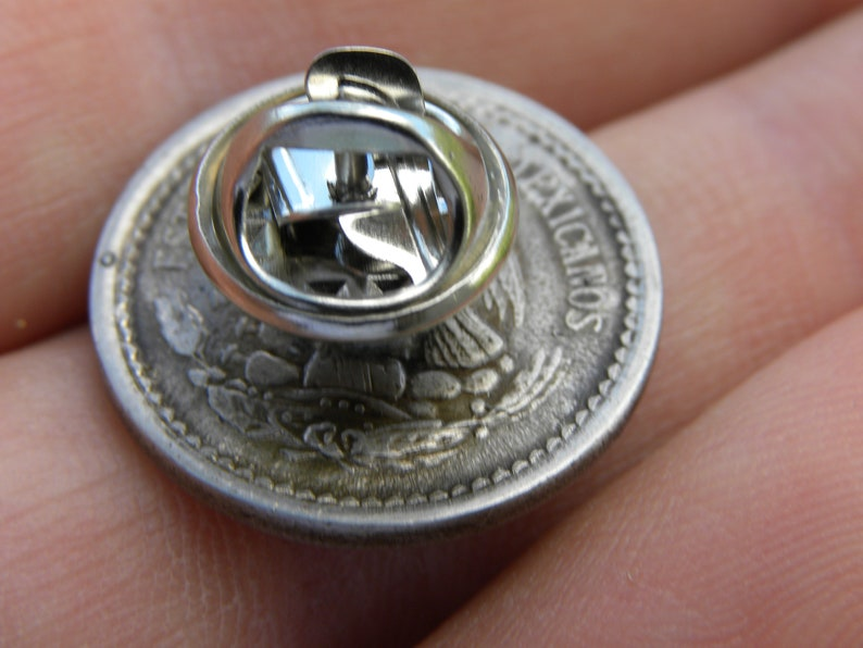 Authentic vintage Mexican 5 centavos Aztec calendar coin various available dates  handmade pin brooch with in gift box