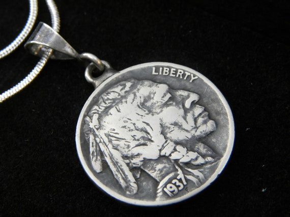 Necklace authentic  Buffalo Indian Nickel coin choose from 1917 1918 1919 1920 1924 1925 1926 1927 1928 1929 1930 1934 1935 1936 1937 1938