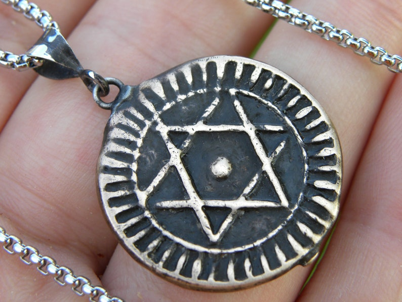 Jewish necklace pendant  authentic 1289 AH 1872 AD   Ancient Star of David  Bronze Morocco minted Seal of Solomon King of Solomon coin
