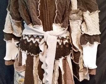 "Custom Fairy Coat Long ""Owl of Knowledge"" -Sweater coat custom-embroidered purse"