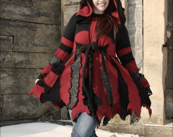 """Custom Fairy Coat of Red and Black """"Wicked"""""""