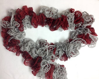 Gray and Crimson Ruffle Scarf