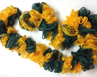 Green and Gold Ruffle Scarf