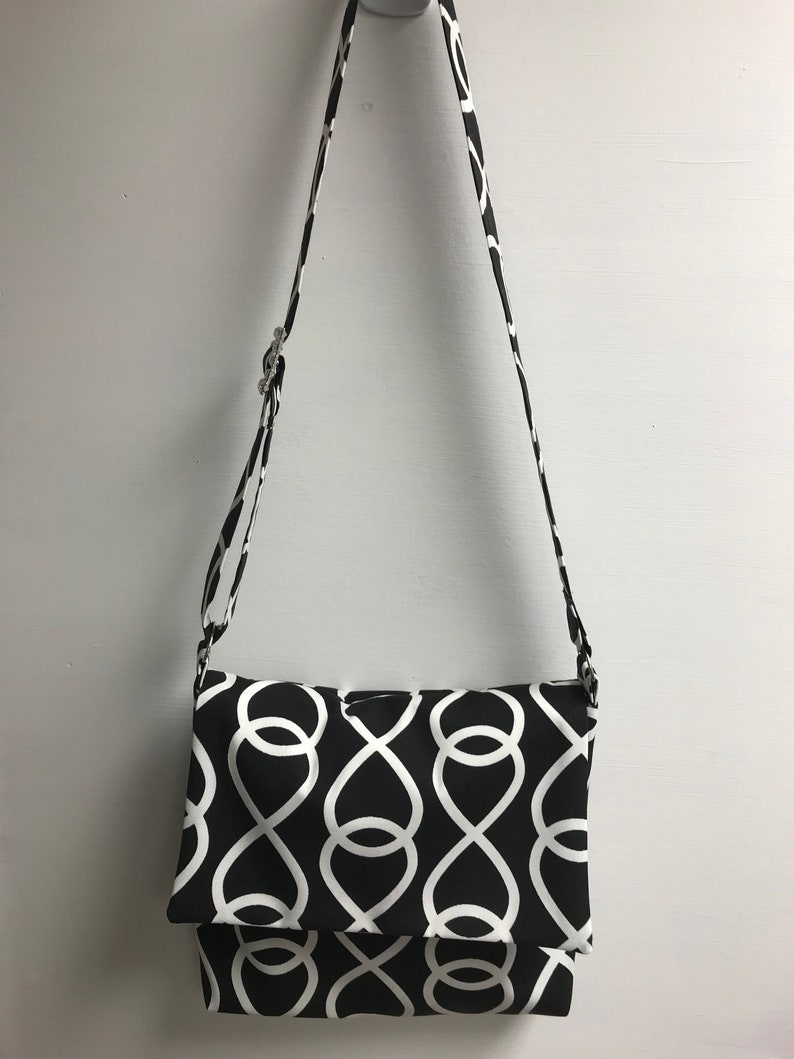 Black Crazy Eights Messenger Purse with a Little Bling