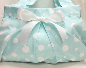 The Bubble Purse: Polka Dot Shoulder Purse (Aqua with White)