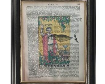 "Tarot Card /""Empress/"" Art Printed On Antique Encyclopedia Page Vintage Decor"