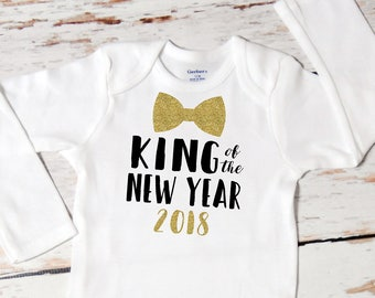 Baby Boy King of the New Year Onesie | First New Year | Baby Boy New Year Outfit | Happy New Year Outfit for Boy | Cake Smash Outfit | 143
