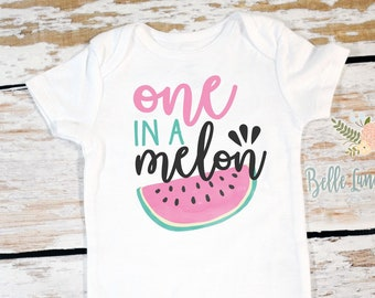 a4b12edd0 One In A Melon Birthday, 1st Birthday Watermelon Onesie®, First Birthday  Girl Outfit, One in a Melon Shirt, Summer Baby Girl Clothes 532