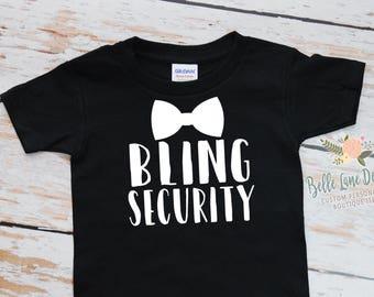 Toddler Bling Security Tshirt | Ring Bearer Gift | Ring Bearer Shirt | Ring Bearer Gift Ideas For Boys | King of the Ring | 302
