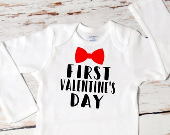 Baby Boy First Valentine S Day With Name Onesie First Etsy