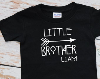 Little Brother Tshirt with Name | Tribal & Arrows | Boys Little Brother Tshirt Black | Big Brother Personalized Boys Tshirt | Brother | 117