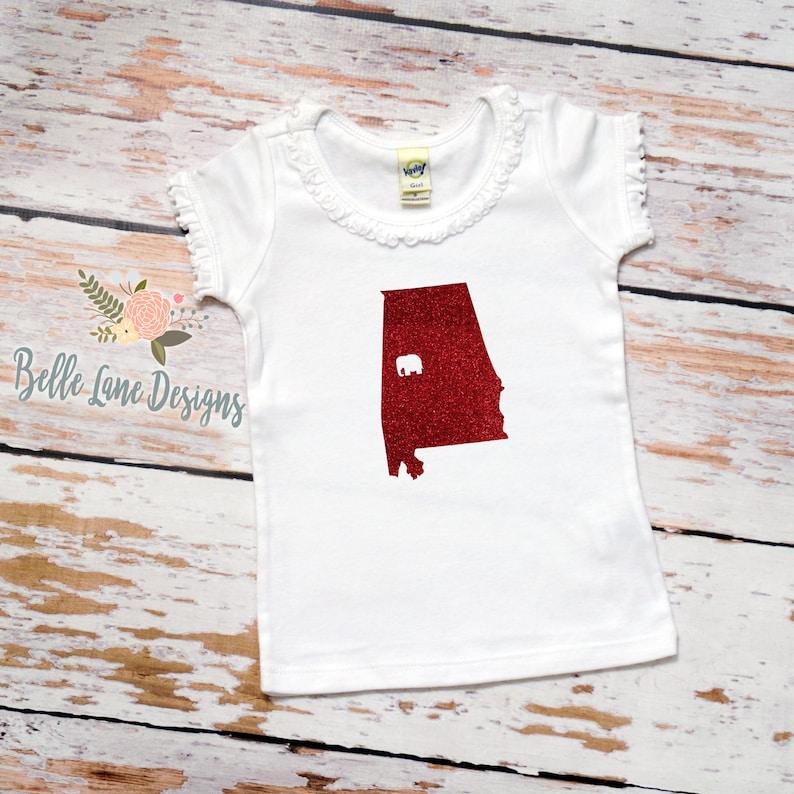 082 Alabama Bama Baby Ruffle Tshirt with State and Elephant Alabama Football Shirt Roll Tide Roll Shirt Baby Baby Bama Outfit