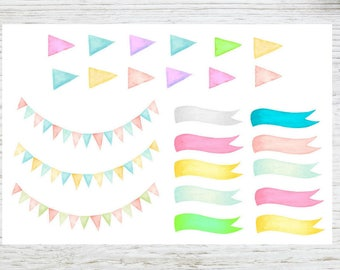 Planner stickers bunting banners and arrows in soft watercolors