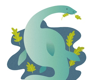 Plesiosaur, dinosaur, nessie - A4 print