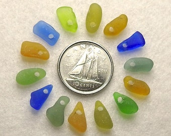 Top Drilled Sea Glass Beads Sea Glass Charms for Jewelry Making Sew on Beads Drilled Beach Glass Beads Unique Craft Supply