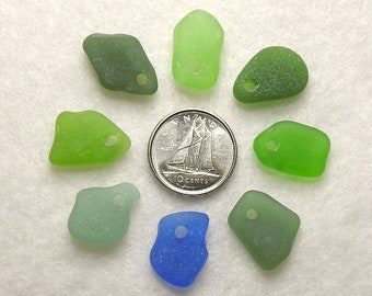 Genuine Sea Glass Drilled Sea Glass Charms for Jewelry Making Top Drilled Sea Glass Beads