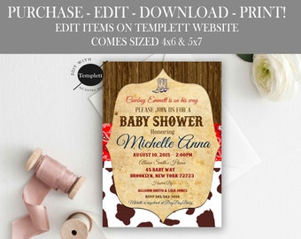 Western Baby Shower Invitations Etsy