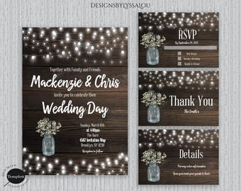 Rustic Wedding Invitation, Rustic Wedding, Country Wedding Invitation,  Template, You Edit, Printable Wedding Invitation, Marriage Invitation