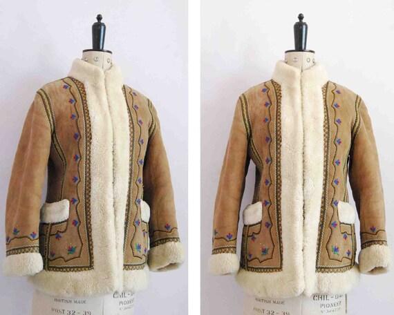 Vintage 1970s Polish Afghan brown embroidered shea