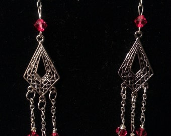 Red Swarovski Crystal Filigree Chandelier Earrings