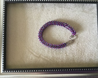 Violet Lilac Silver Box Chain Chainmaille Bracelet