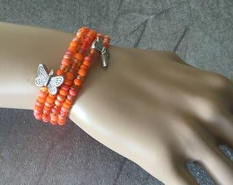 Orange Mega Wrapped Bangle Bracelet w/Butterflies, Bangle, Bracelets