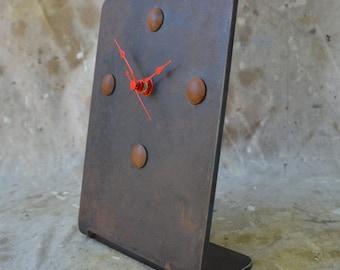 Industrial Desk or Mantle Clock Dark Patina