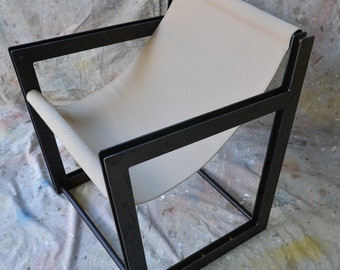 Industrial Furniture, sling chair, canvas and steel, black patina finish