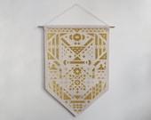 Geometric Pattern Original Art Banner Illustrated Flag Handmade Artwork Natural Cotton Glitter Gold Black Velvet Iron-on Material