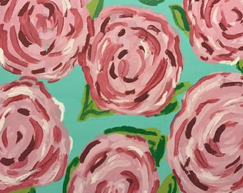Flower Wall Hanging, Pink Painted Canvas, Pink Wall Art, Lilly Pulitzer Inspired Flower Painting 16 x 20