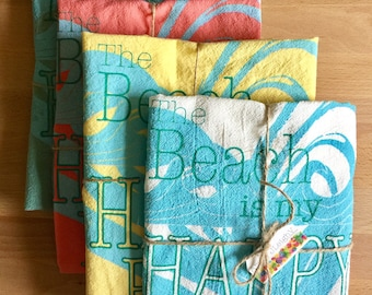 The Beach is My Happy Place Tea Towel - 4 Colors -