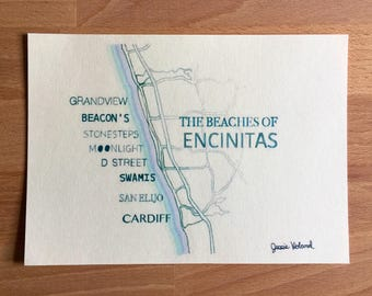 Beach of Encinitas Print - Beach Love - 5 x 7 - San Diego - Ocean Theme Art