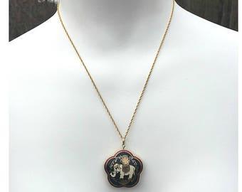 Elephant Cloisonne Puff Pendant Necklace, Cloisonne Elephant, Cloisonne Pendant, Spinner Pendant, Elephant Necklace, Chinese Elephant