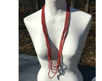 Extra Long Multi Strand Red Necklace, Extra Long Necklace, Four Strand Necklace, Multi Strand Necklace, Layering Necklace, Beaded Necklace