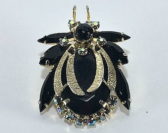 Juliana Insect Brooch, Bug Brooch, Figural Brooch, Gold Brooch, Onyx Black Brooch, AB Brooch, Juliana Brooch, D and E, Delizza and Elster