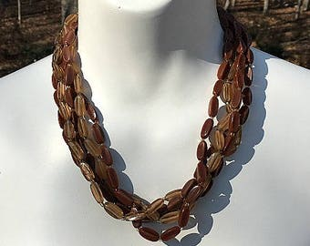 Moccoa Multi Strand Choker Necklace, Brown Necklace, Multi Strand Necklace, Beaded Necklace, Brown Choker, Multistrand Choker, Five Strand