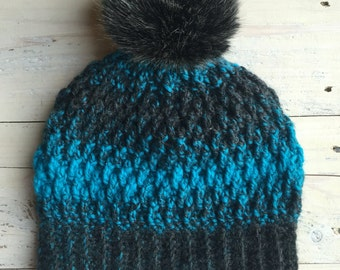 Crochet hat with Pom Pom, gifts for her, winter hat, crochet winter beanie with Pom Pom, Pom Pom hats, Pom Pom,